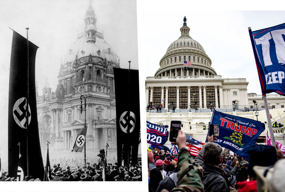 Nazi parade in front of the Reichstag, 1934. | Pro-Trump supporters storm the U.S. Capitol following a rally with President Donald Trump on January 6, 2021 in Washington, DC. (Photo illustration by Salon/Getty Images)