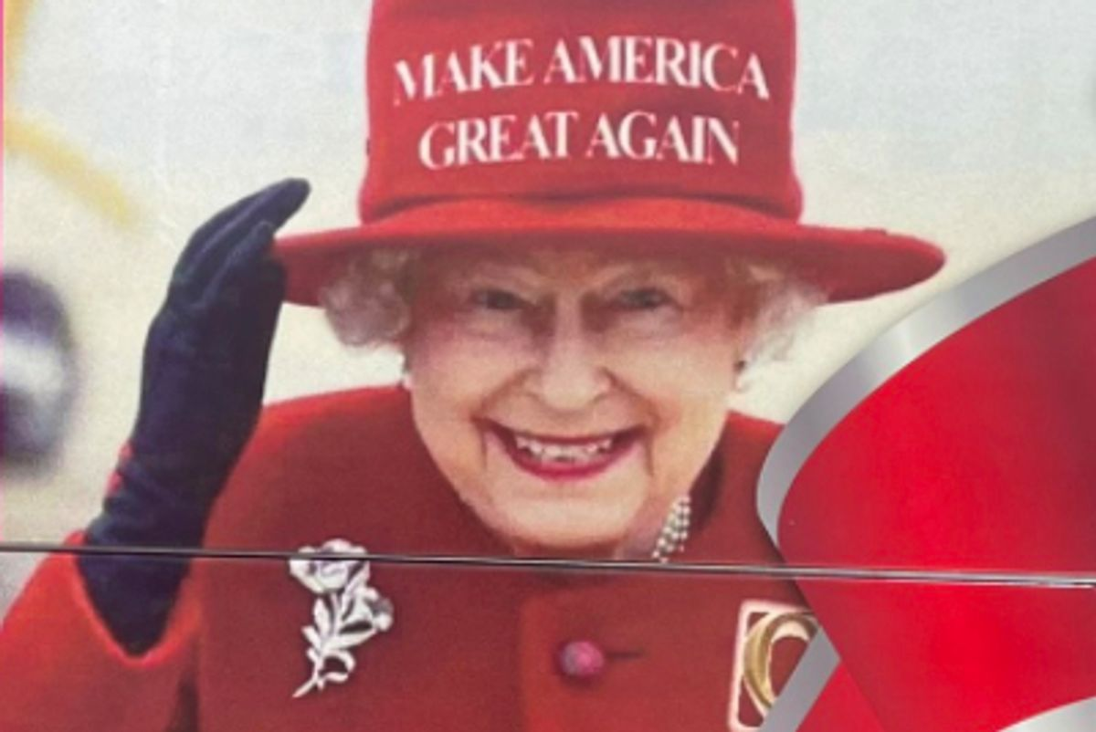 The doctored image of Queen Elizabeth II that sparked an official complaint from Buckingham Palace. (Twitter)