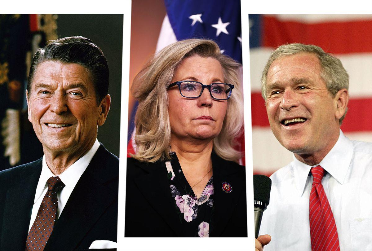 Ronald Reagan, Liz Cheney and George W. Bush (Photo illustration by Salon/Getty Images)