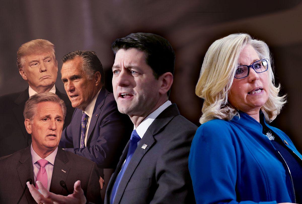 Paul Ryan, Liz Cheney, Donald Trump, Mitt Romney and Kevin McCarthy (Photo illustration by Salon/Getty Images)
