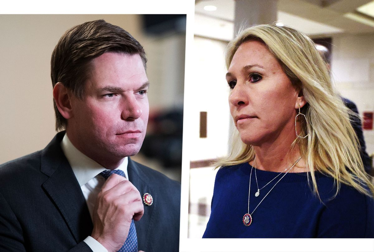 Eric Swalwell and Marjorie Taylor Greene (Photo illustration by Salon/Getty Images)