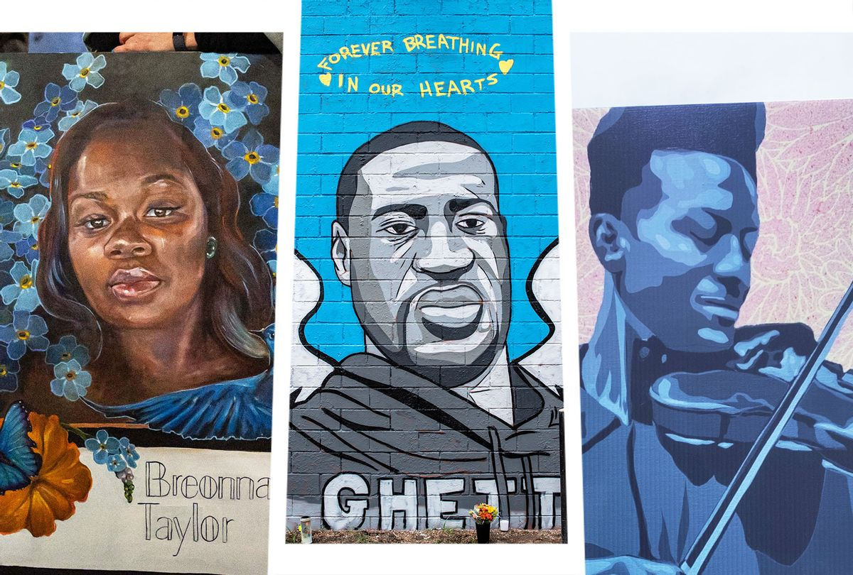 Paintings memorializing Breonna Taylor, George Floyd and Elijah McClain (Photo illustration by Salon/Getty Images)