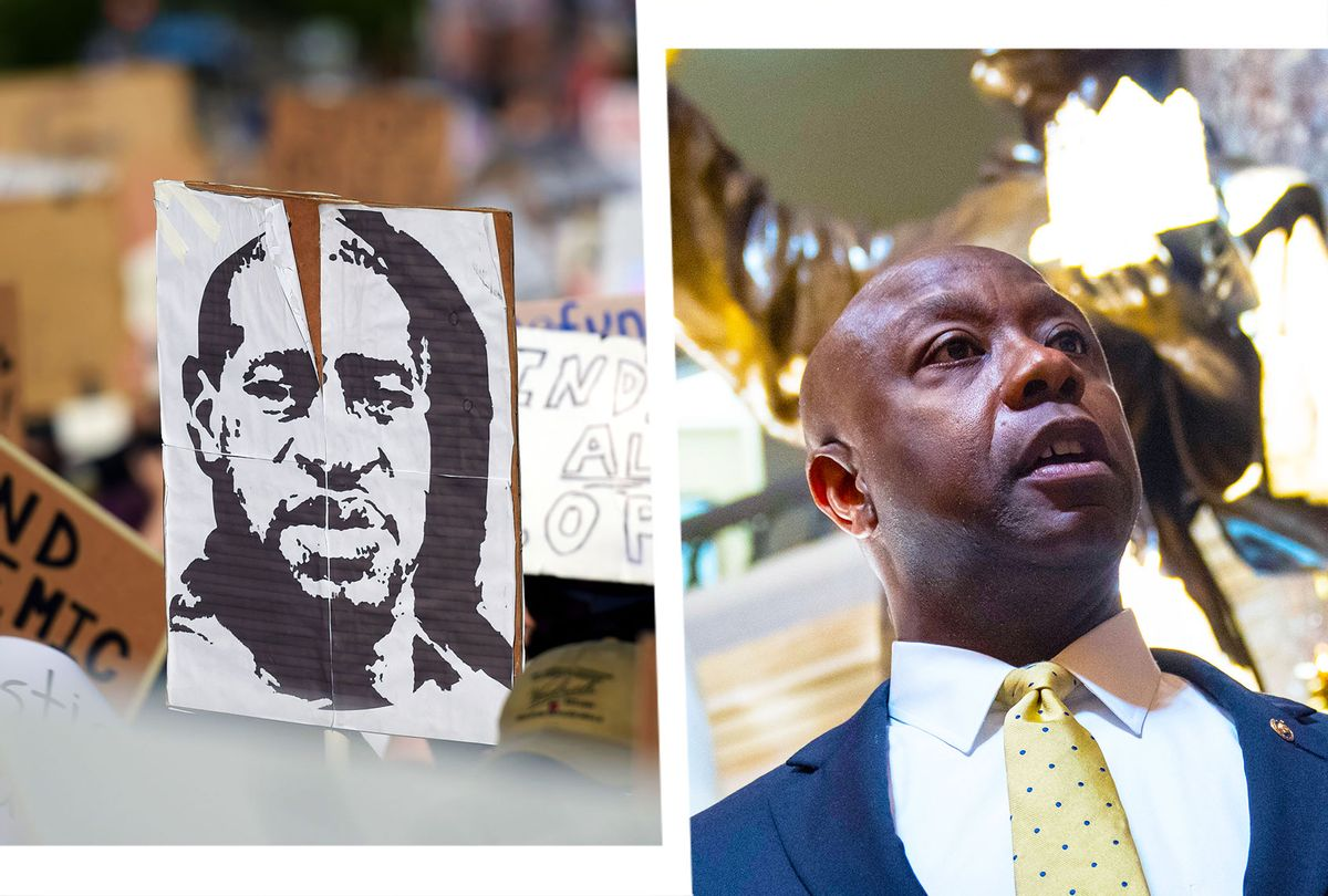 George Floyd poster at a protest   Sen. Tim Scott (R-SC) (Photo illustration by Salon/Getty Images)