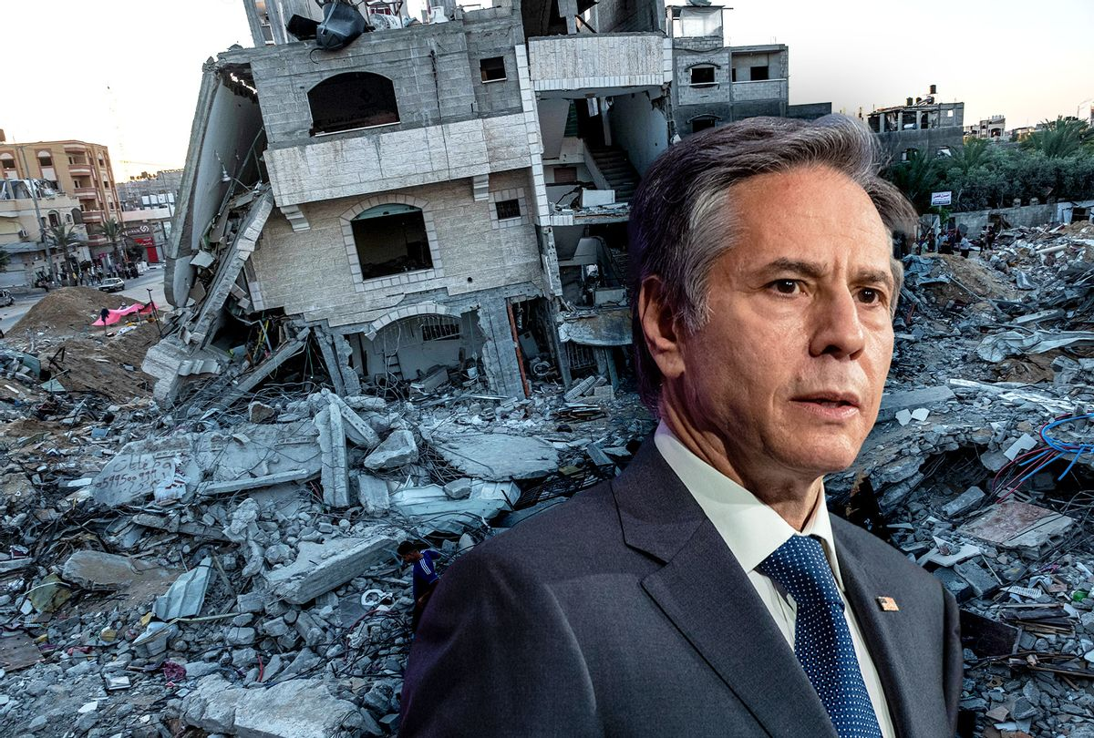 US Secretary of State, Antony Blinken | Destroyed residential buildings in Palestine (Photo illustration by Salon/Getty Images)