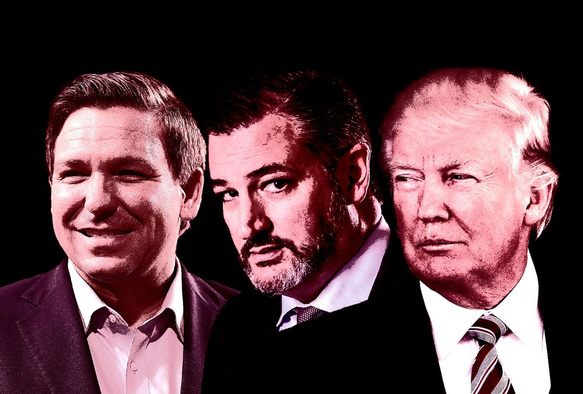 Ron DeSantis, Ted Cruz and Donald Trump (Photo illustration by Salon/Getty Images)