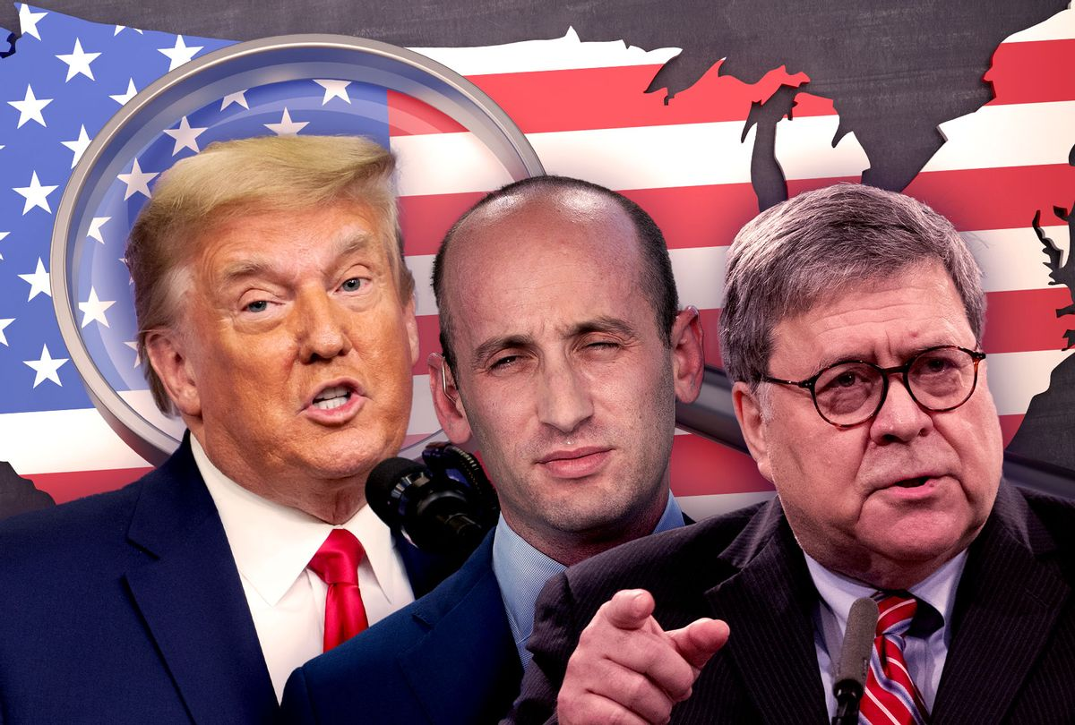 Donald Trump, Stephen Miller and Bill Barr (Photo illustration by Salon/Getty Images)