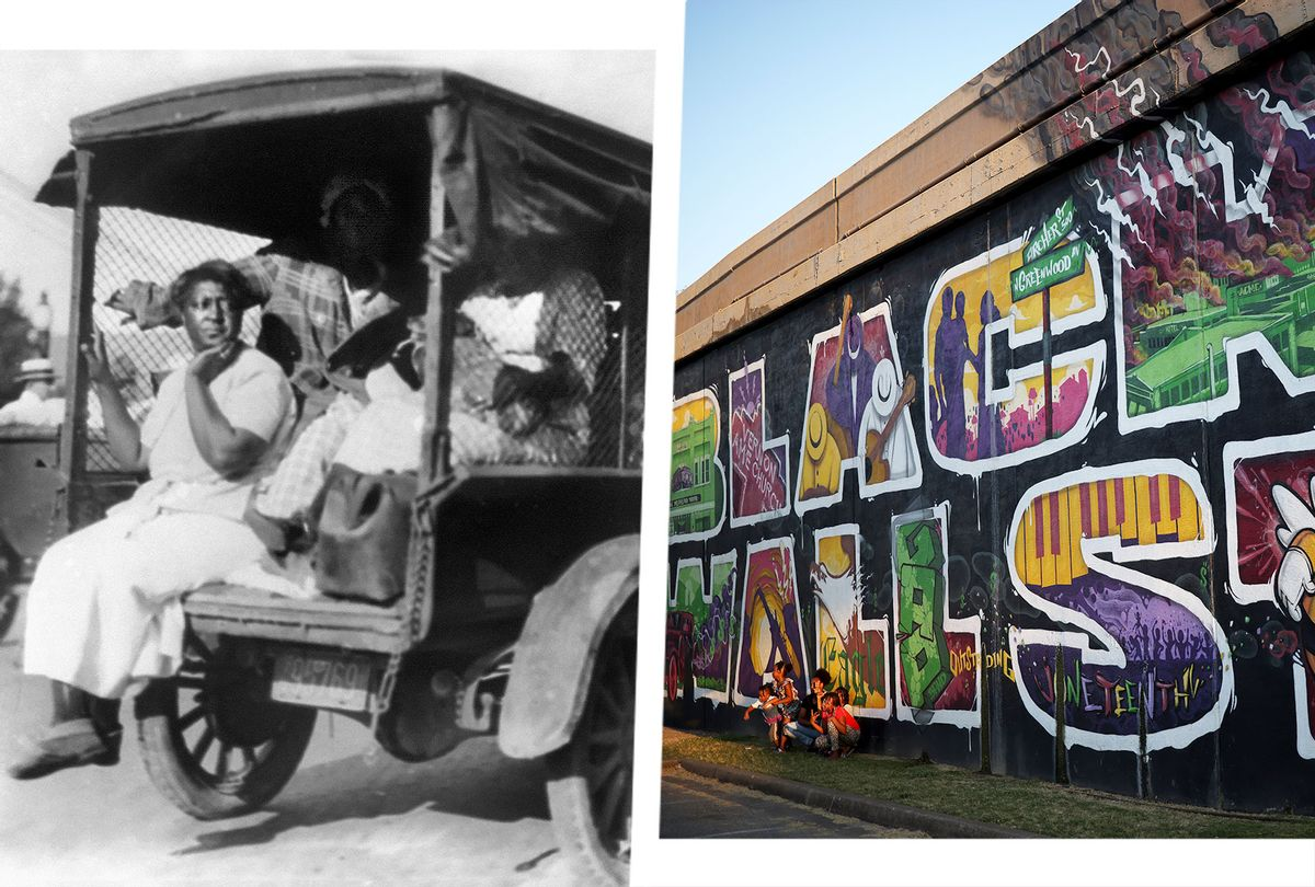 Woman rides in a truck loaded with people and possessions during the Tulsa massacre in 1921 | Mural marking Black Wall Street massacre in the Greenwood District (Photo illustration by Salon/Greenwood Cultural Center/Win McNamee/Getty Images)