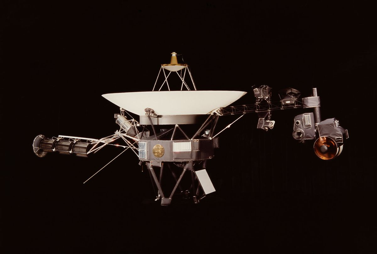 A NASA image of one of the Voyager space probes. Voyager 1 and its identical sister craft Voyager 2 were launched in 1977 to study the outer Solar System and eventually interstellar space. (NASA/Hulton Archive/Getty Images)