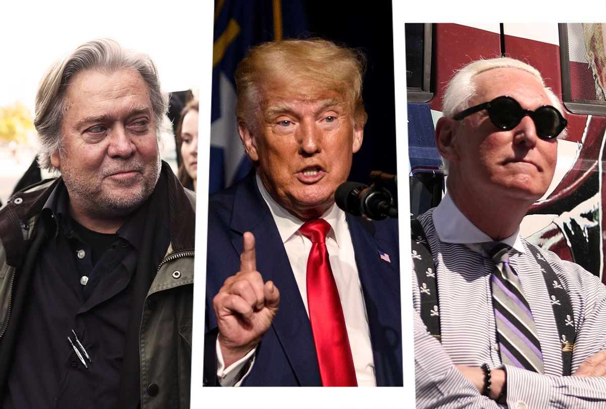 Steve Bannon, Donald Trump and Roger Stone (Photo illustration by Salon/Getty Images)