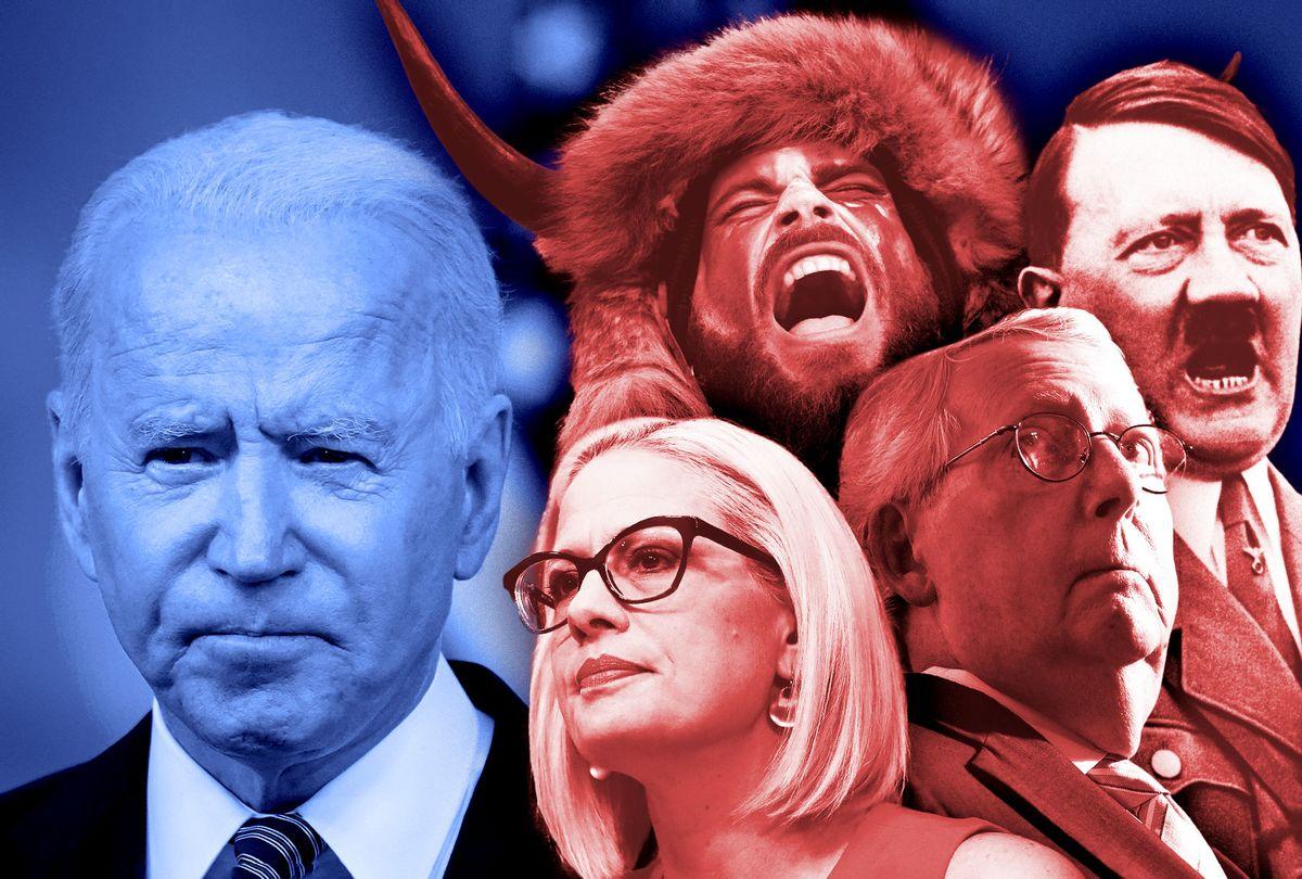 Joe Biden, Kyrsten Sinema, Mitch McConnell, the QAnon Shaman and Adolf Hitler (Photo illustration by Salon/Getty Images)