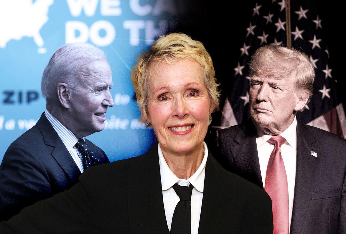 E. Jean Carroll, Joe Biden and Donald Trump (Photo illustration by Salon/Getty Images)