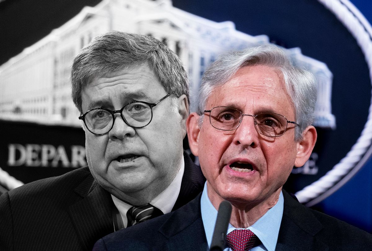Bill Barr and Merrick Garland (Photo illustration by Salon/Getty Images)
