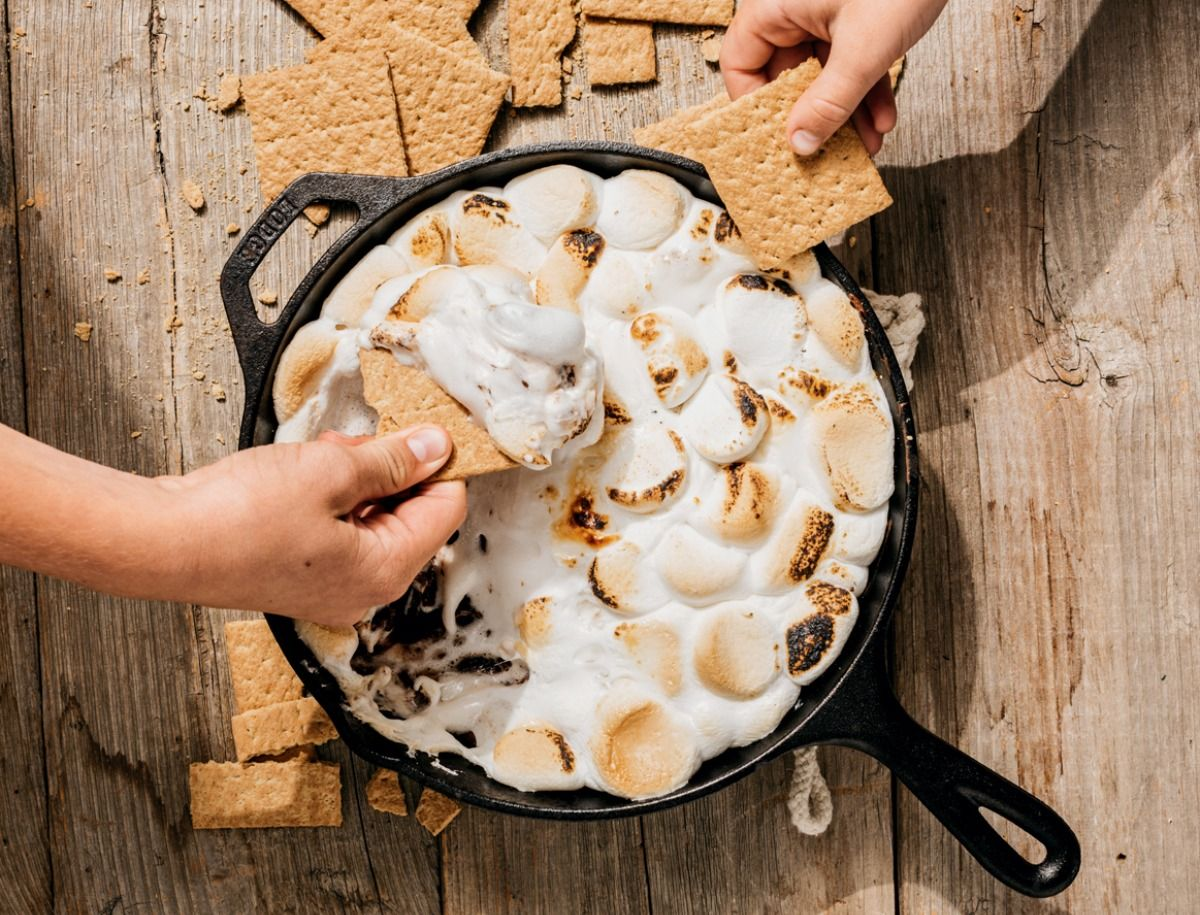 Campfire S'Mores Dip (Food Styling by Catrine Kelty   Prop Styling by Caroline Woodward) (Photo by Michael Piazza for Yankee Magazine)