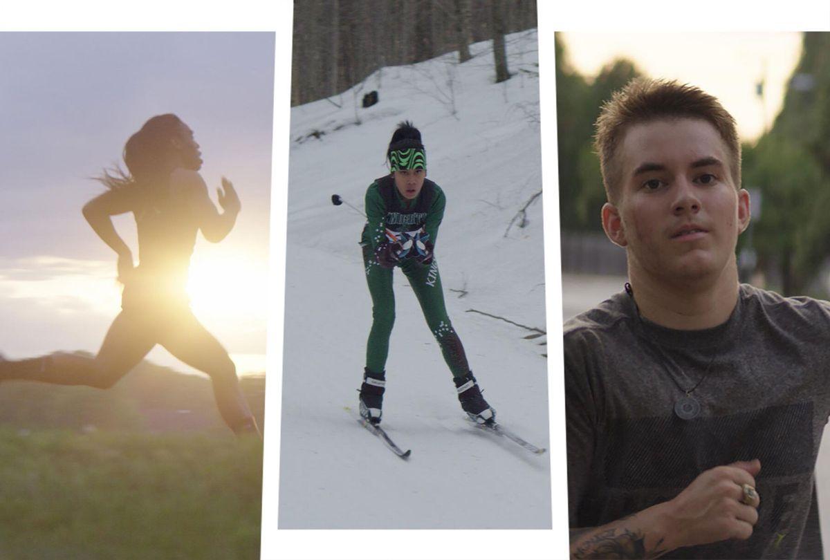 "Track star Andraya Yearwood, wrestler Mack Beggs, and Nordic skier Sarah Rose Huckman in ""Changing the Game"" (Hulu)"