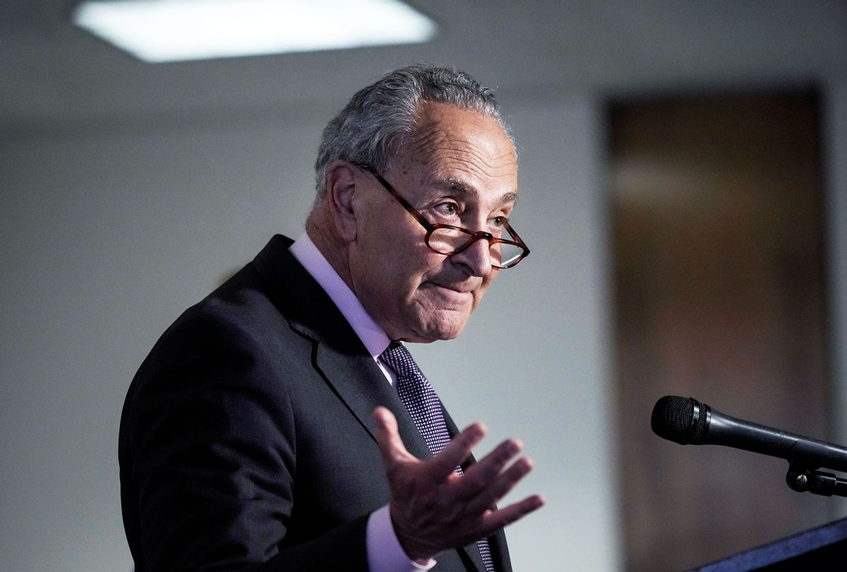 Senate Majority Leader Chuck Schumer (D-NY) speaks to the press following a Democratic caucus meeting on May 25, 2021 in Washington, DC. Schumer urged his Republican Senate colleagues to support the January 6 commission legislation. (Drew Angerer/Getty Images)