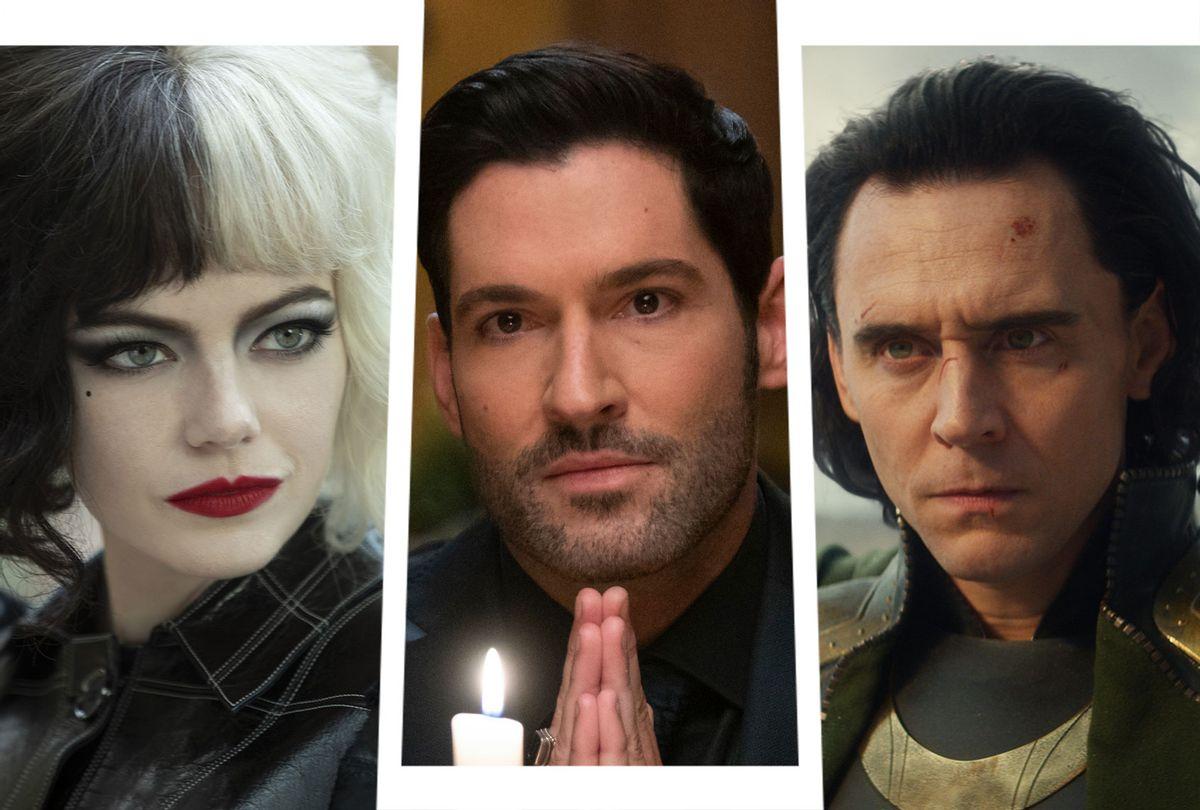 Emma Stone as Cruella, Tom Ellis as Lucifer and Tom Hiddleston as Loki (Photo illustration by Salon/Disney+/Netflix)