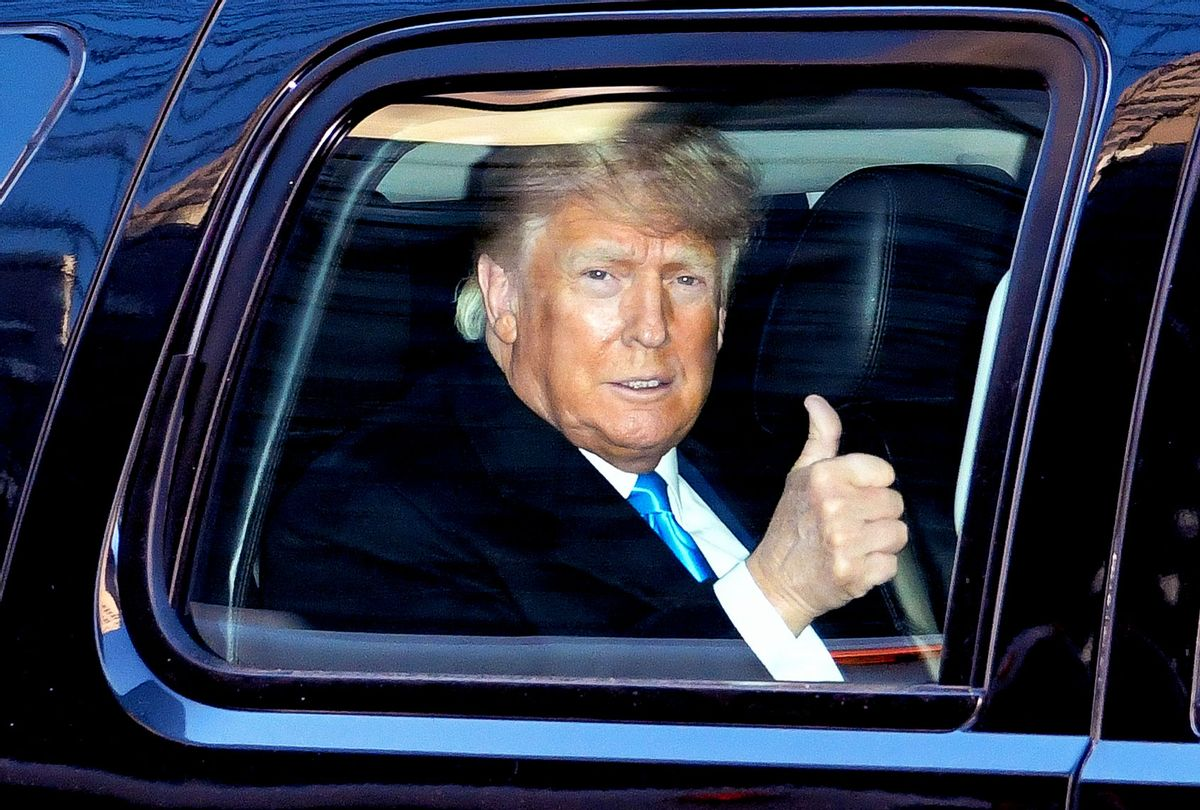Former U.S. President Donald Trump leaves Trump Tower in Manhattan on March 09, 2021 in New York City. (James Devaney/GC Images)