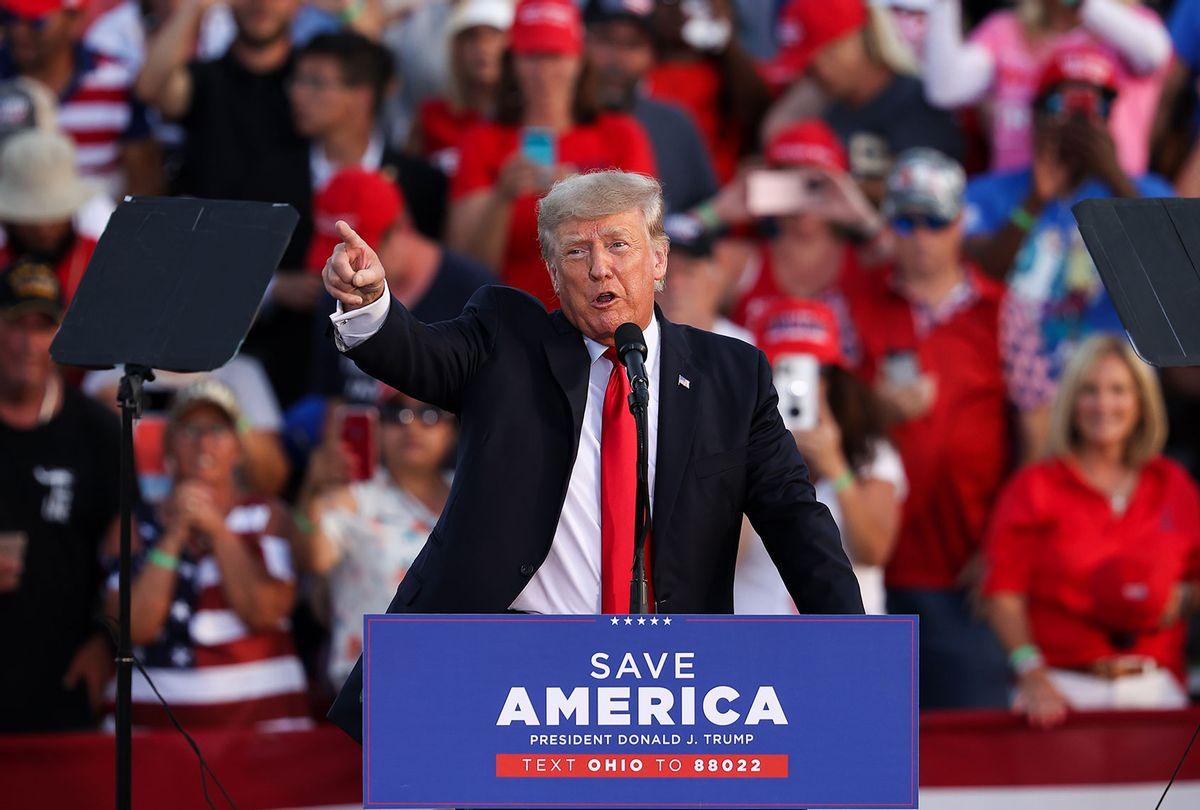 Former President of United States Donald Trump speaks to crowd gathered at the Lorain County Fair Grounds in Wellington, Ohio, United States on June 26, 2021. Trump held a rally in Wellington for the first time since the January 6. (Tayfun Coskun/Anadolu Agency via Getty Images)