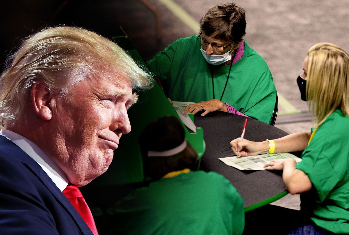 Donald Trump | Contractors working for Cyber Ninjas, who was hired by the Arizona State Senate, examine and recount ballots from the 2020 general election at Veterans Memorial Coliseum on May 8, 2021 in Phoenix, Arizona. (Photo illustration by Salon/Getty Images)