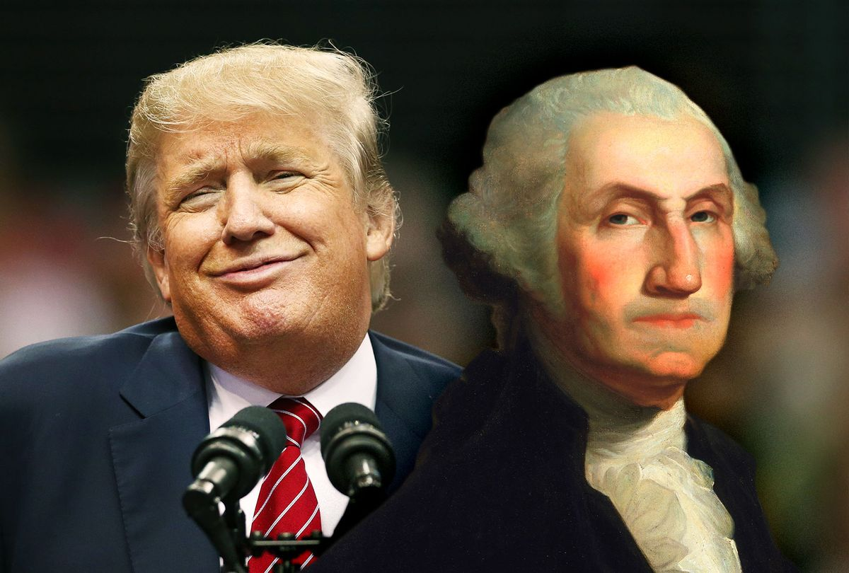 George Washington side-eying Donald Trump (Photo illustration by Salon/Getty Images)