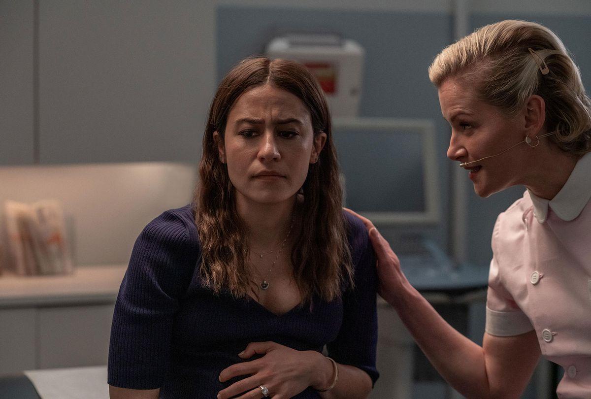 "Ilana Glazer as Lucy and Gretchen Mol as Nurse Dawn in ""False Positive"" (Michael O'Neale/Hulu)"