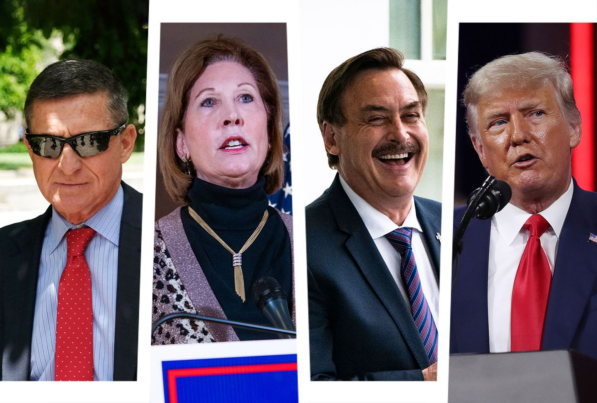 Michael Flynn, Sydney Powell, Mike Lindell and Donald Trump (Photo illustration by Salon/Getty images)
