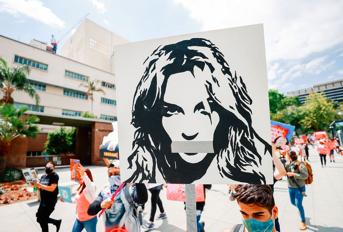 #FreeBritney activists protest outside Courthouse in Los Angeles during Conservatorship Hearing on April 27, 2021 in Los Angeles, California. (Matt Winkelmeyer/Getty Images)