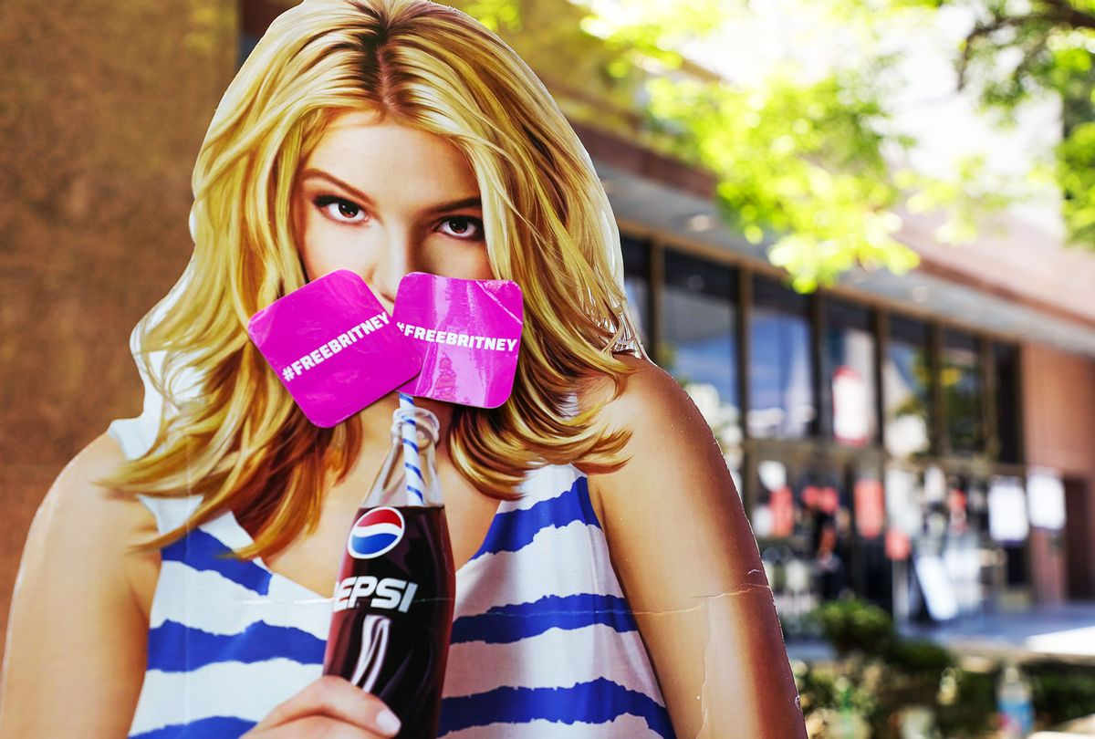A cardboard cutout depicting Britney Spears is seen during a #FreeBritney protest at Los Angeles Grand Park during a conservatorship hearing for Spears on June 23, 2021 in Los Angeles, California. Spears is expected to address the court remotely. Spears was placed in a conservatorship managed by her father, Jamie Spears, and an attorney, which controls her assets and business dealings, following her involuntary hospitalization for mental care in 2008. (Rich Fury/Getty Images)