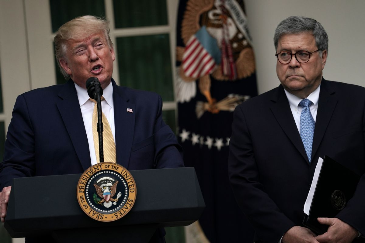 U.S. President Donald Trump makes a statement on the census with Attorney General William Barr in the Rose Garden of the White House on July 11, 2019. (Getty Images)