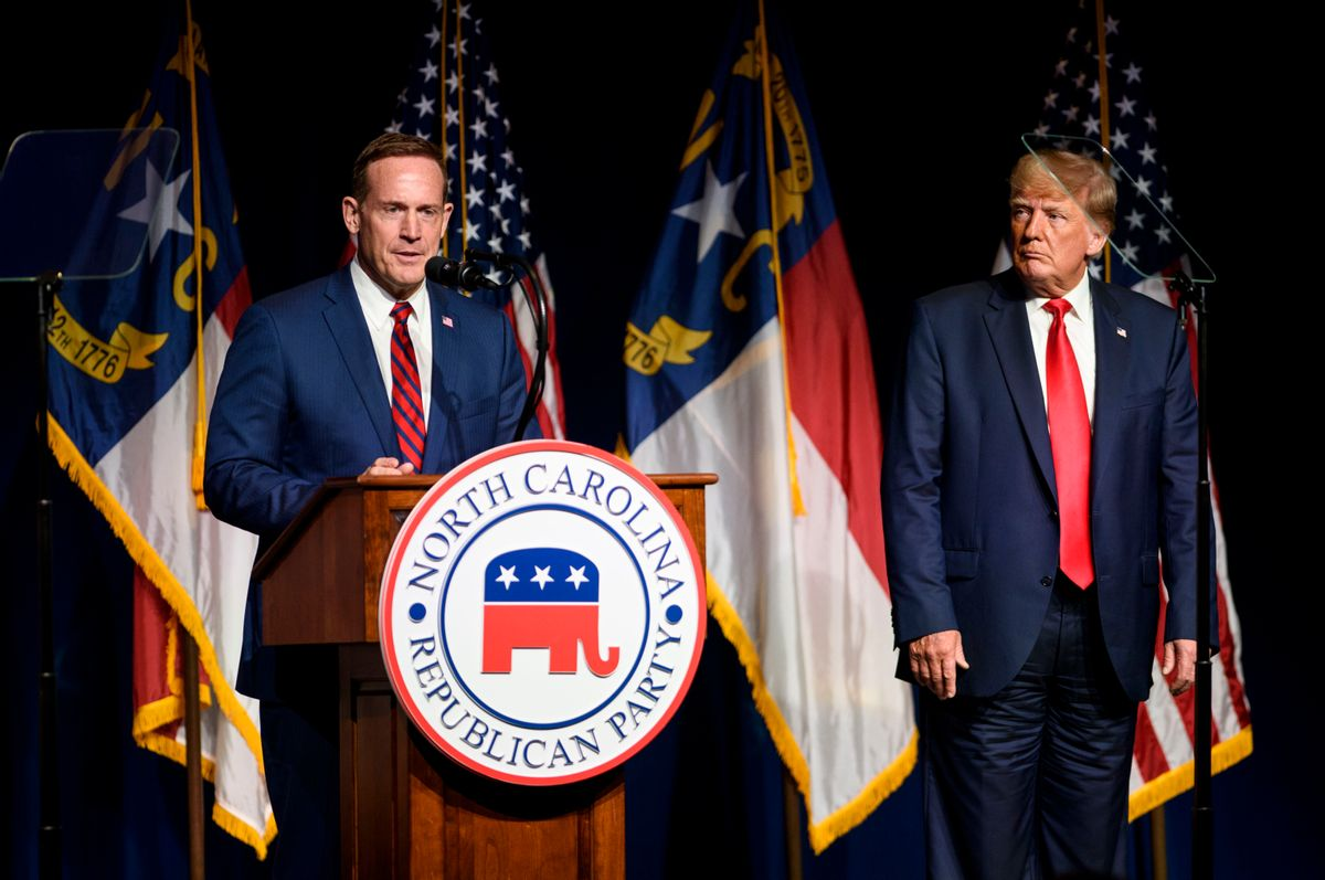 Former U.S. President Donald Trump listens to Ted Budd announce he's running for the NC Senate at the NCGOP state convention on June 5, 2021 in Greenville, North Carolina.  (Getty Images)