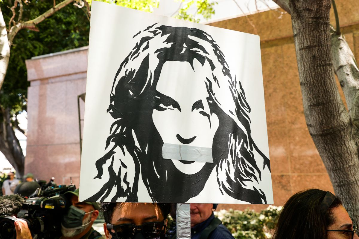 #FreeBritney activists protest at Los Angeles Grand Park during a conservatorship hearing for Britney Spears on June 23, 2021 in Los Angeles, California. (Getty Images)