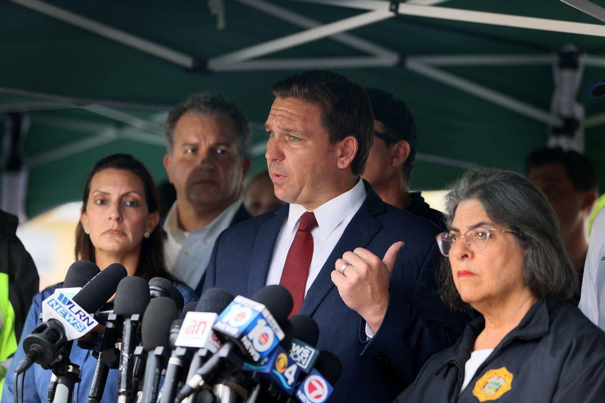 Florida Gov. Ron DeSantis speaks to the media about the 12-story Champlain Towers South condo building that partially collapsed on June 24, 2021 in Surfside, Florida. (Joe Raedle/Getty Images)