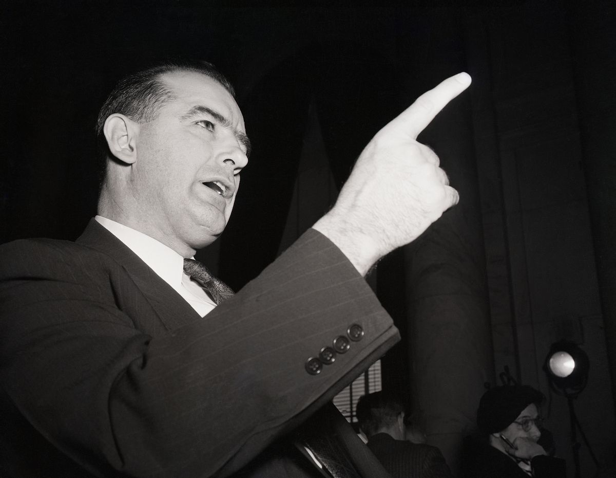 Wisconsin Sen. Joseph McCarthy shakes a finger during his second appearance before the Senate Foreign Relations Subcommittee on March 9, 1950. (Getty Images)