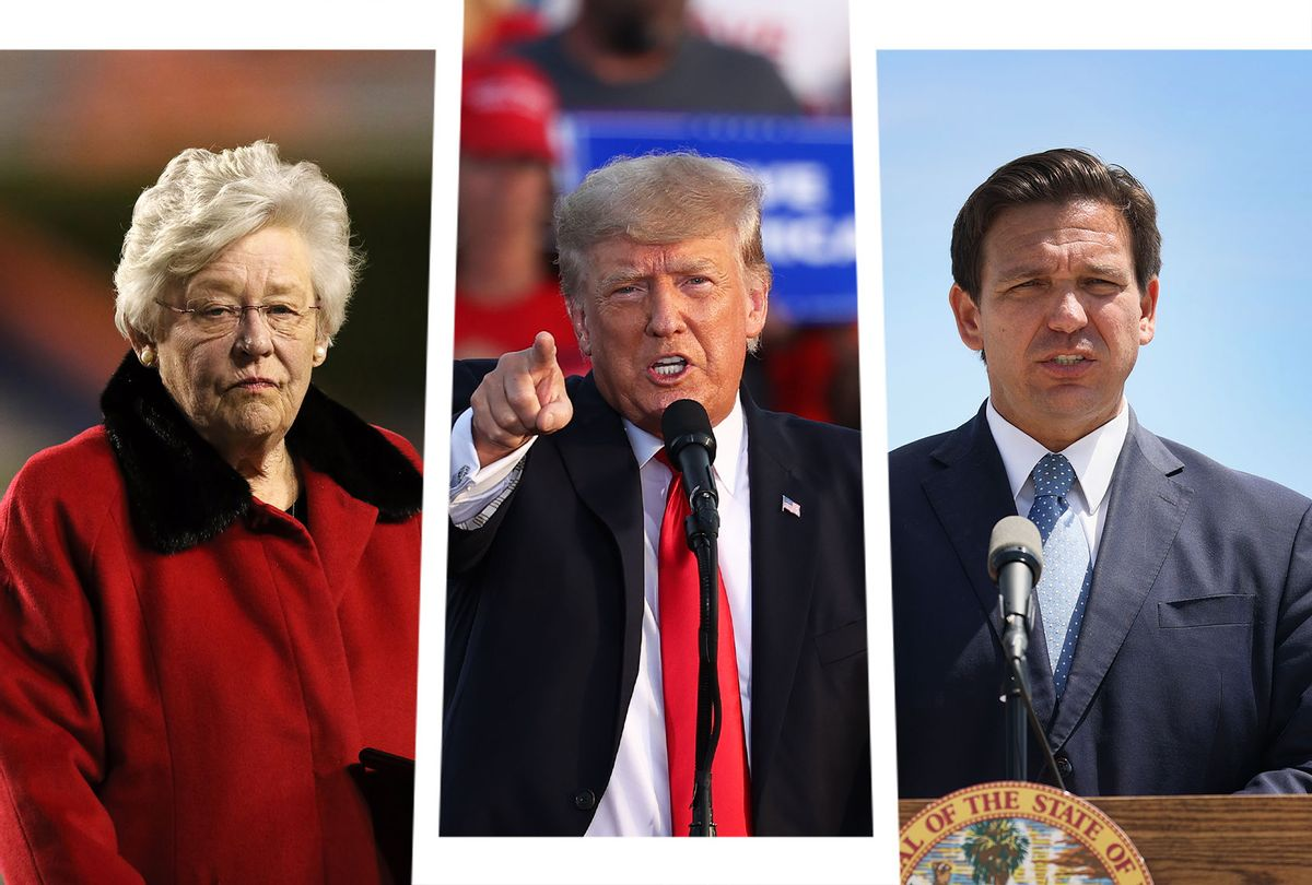 Kay Ivey, Donald Trump and Ron DeSantis (Photo illustration by Salon/Getty Images)