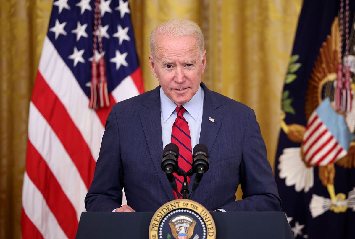 U.S. President Joe Biden delivers remarks on the Senate's bipartisan infrastructure deal at the White House on June 24, 2021 in Washington, DC. Biden said both sides made compromises on the nearly $1 trillion infrastructure bill. (Kevin Dietsch/Getty Images)