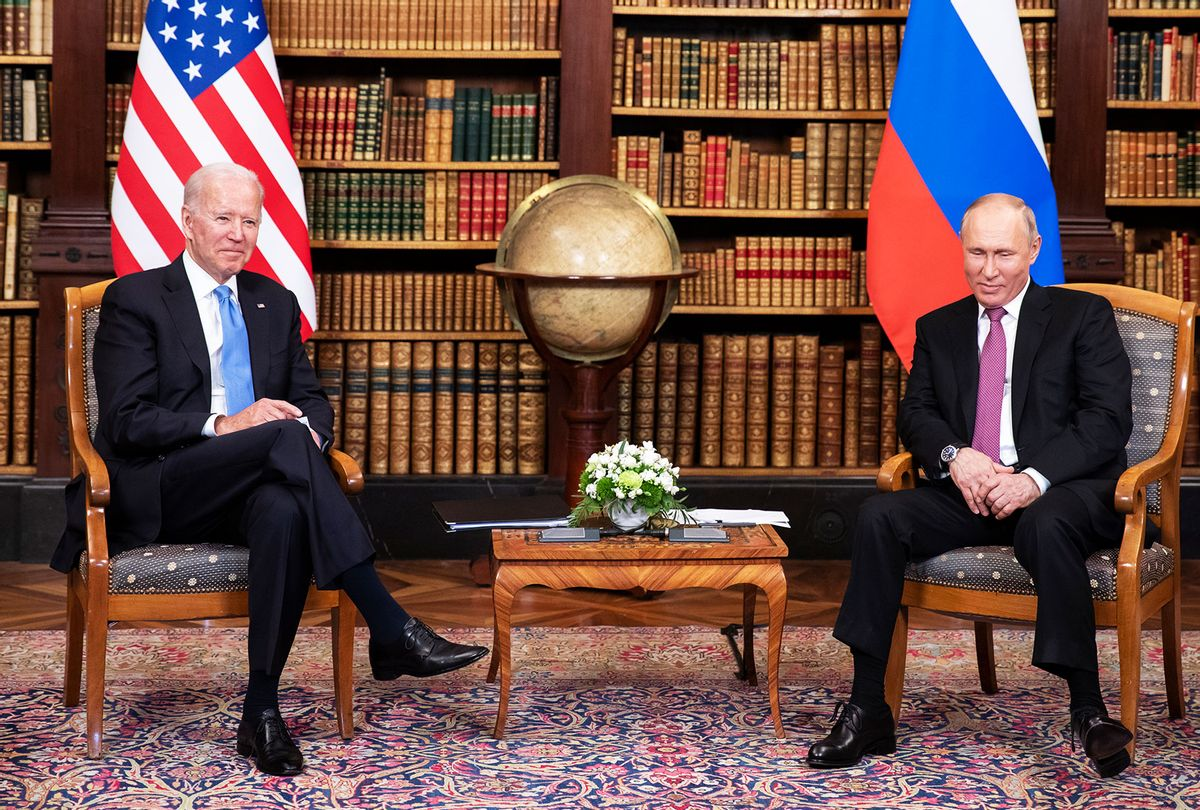 U.S. president Joe Biden (L) and Russian President Vladimir Putin meet during the U.S.-Russia summit at Villa La Grange on June 16, 2021 in Geneva, Switzerland. Biden is meeting his Russian counterpart, Putin, for the first time as president in Geneva, Switzerland. (Peter Klaunzer - Pool/Keystone via Getty Images)