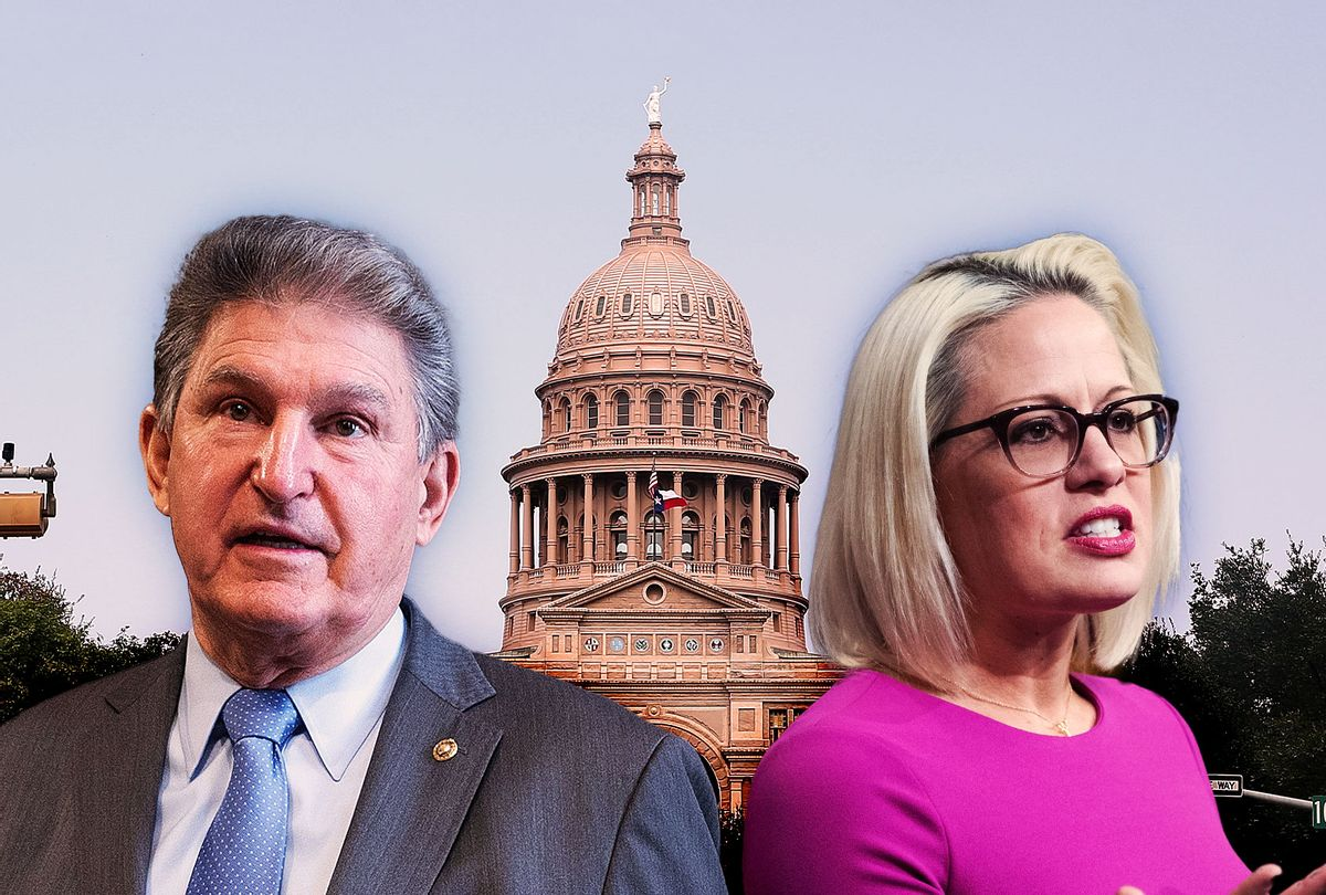 Joe Manchin, Kyrsten Sinema and the Texas Capitol building (Photo illustration by Salon/Getty Images)