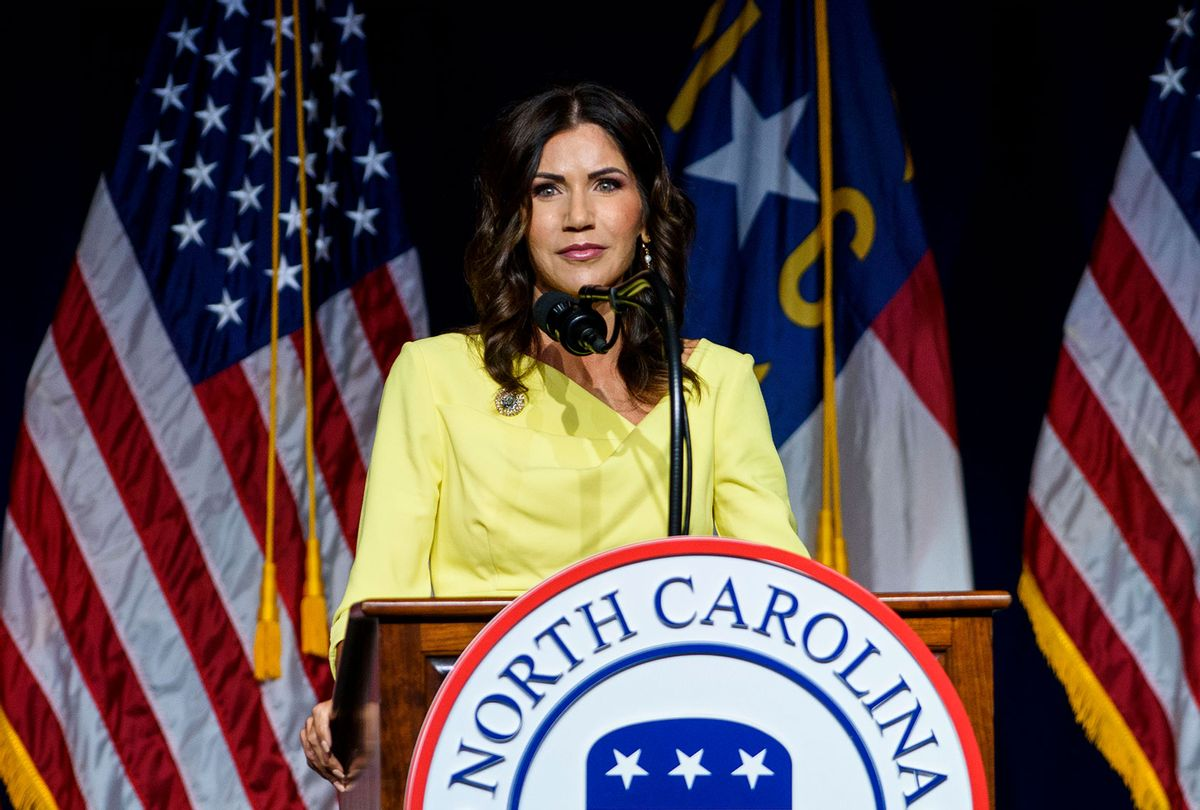 South Dakota Gov. Kristi Noem speaks to attendees at the North Carolina GOP convention on June 5, 2021 in Greenville, North Carolina. Former U.S. President Donald Trump is scheduled to speak at the NCGOP state convention in one of his first high-profile public appearances since leaving the White House in January. (Melissa Sue Gerrits/Getty Images)