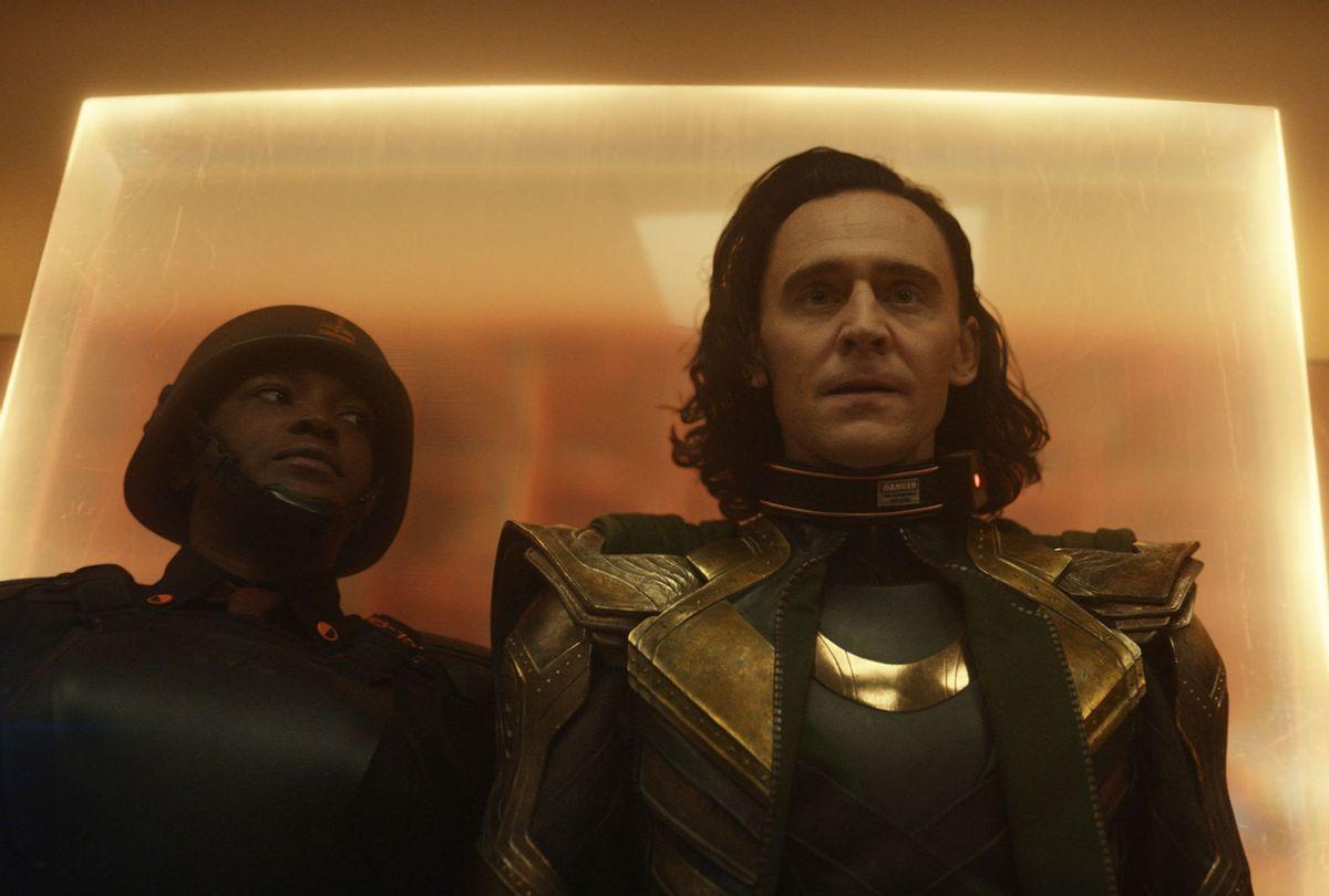 Tom Hiddleston as Loki and Wunmi Mosaku as Hunter B-15 (Disney+/Marvel Studios)