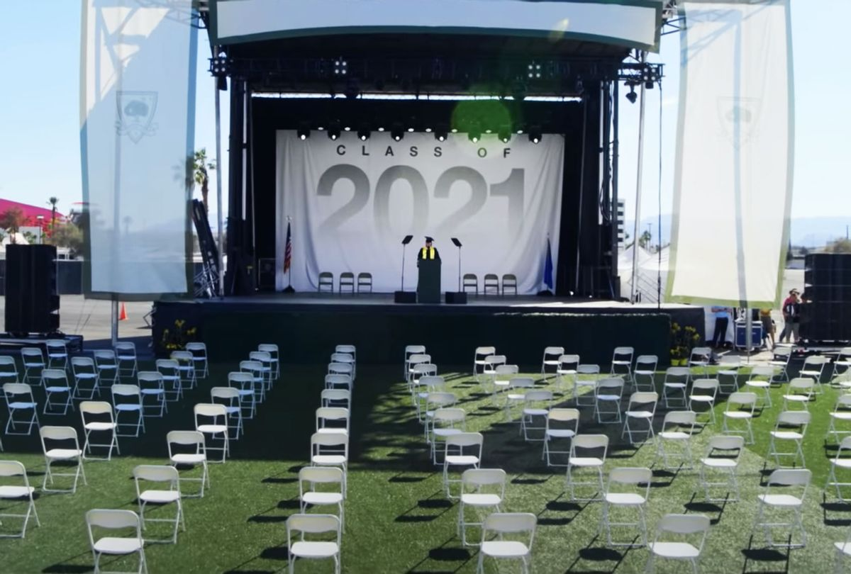 David Keene, gave a speech to empty chairs in a Las Vegas stadium for the James Madison Academy 2021 graduating class. (YouTube/Change the Ref)