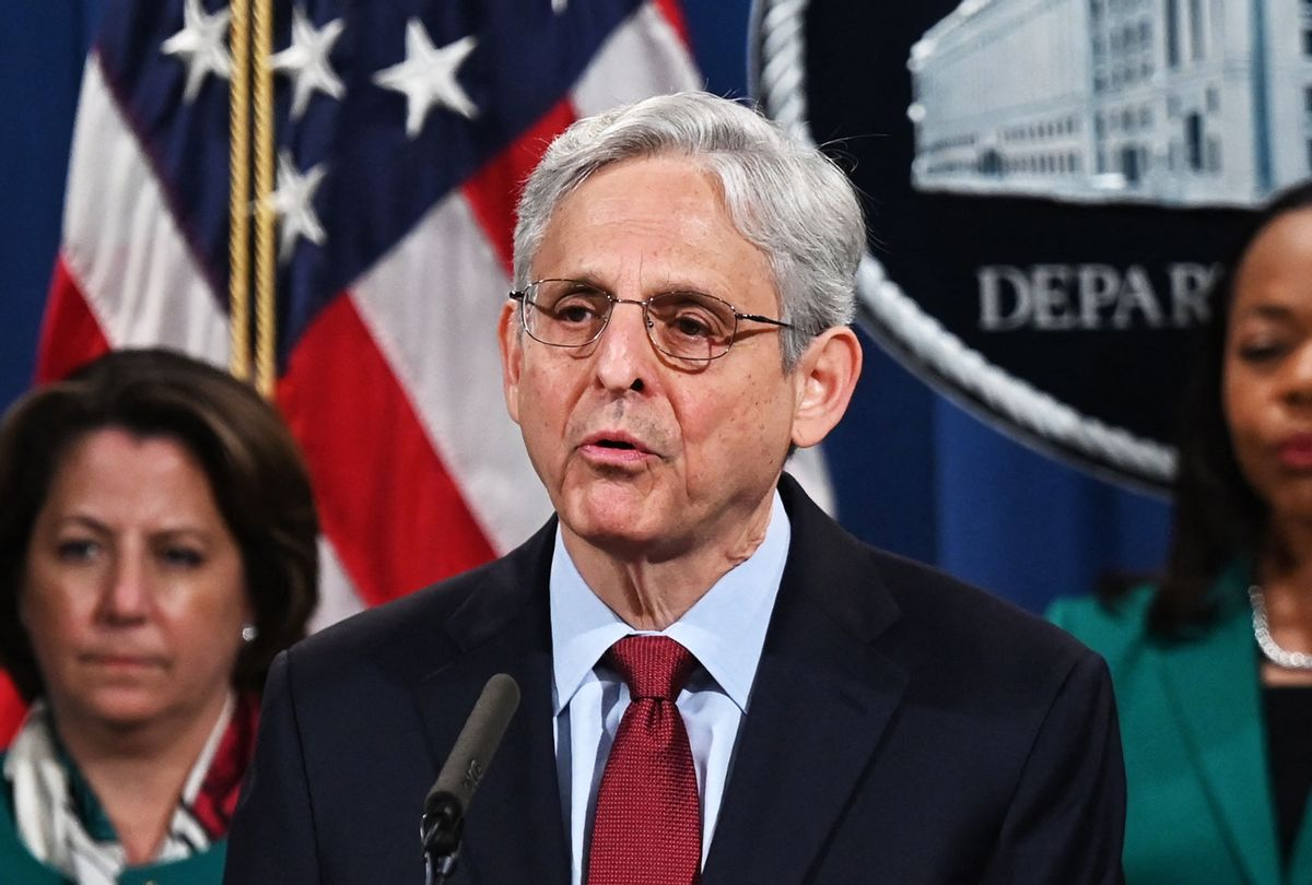 Attorney General Merrick Garland speaks during a press conference announcing a voting rights enforcement action against the state of Georgia during an event at the Department of Justice in Washington, DC, on June 25, 2021. (JIM WATSON/AFP via Getty Images)