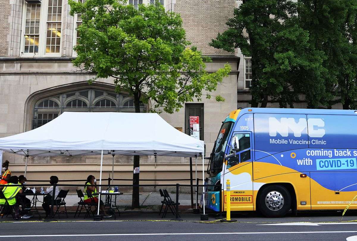 A mobile vaccination site is seen on Flatbush Avenue on June 09, 2021 in the Flatbush neighborhood of the Brooklyn borough of New York City. (Michael M. Santiago/Getty Images)