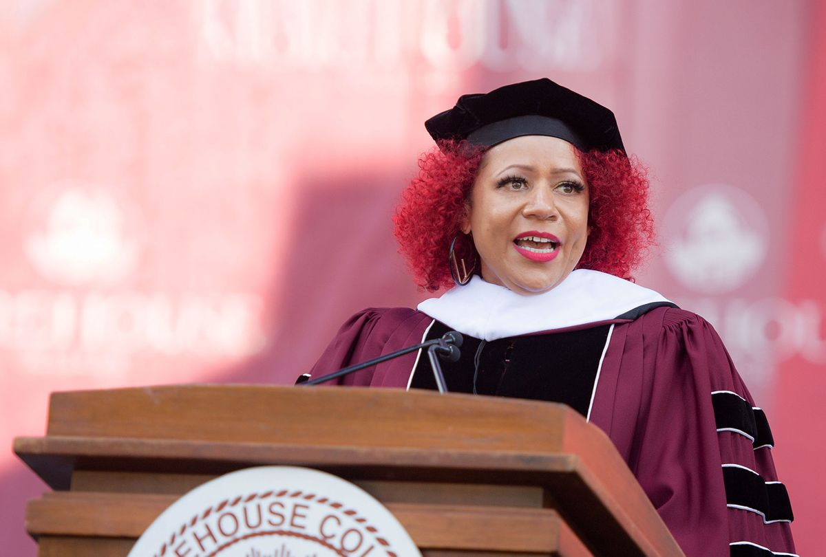 Author Nikole Hannah-Jones speaks on stage during the 137th Commencement at Morehouse College on May 16, 2021 in Atlanta, Georgia. (Marcus Ingram/Getty Images)