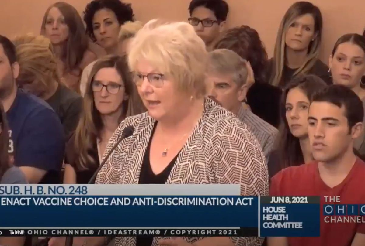 Anti-vaccine doctor Sherri Tenpenny now testifying in favor of a bill to prohibit any Ohio business/school from mandating vaccines (Twitter/@Tylerjoelb)