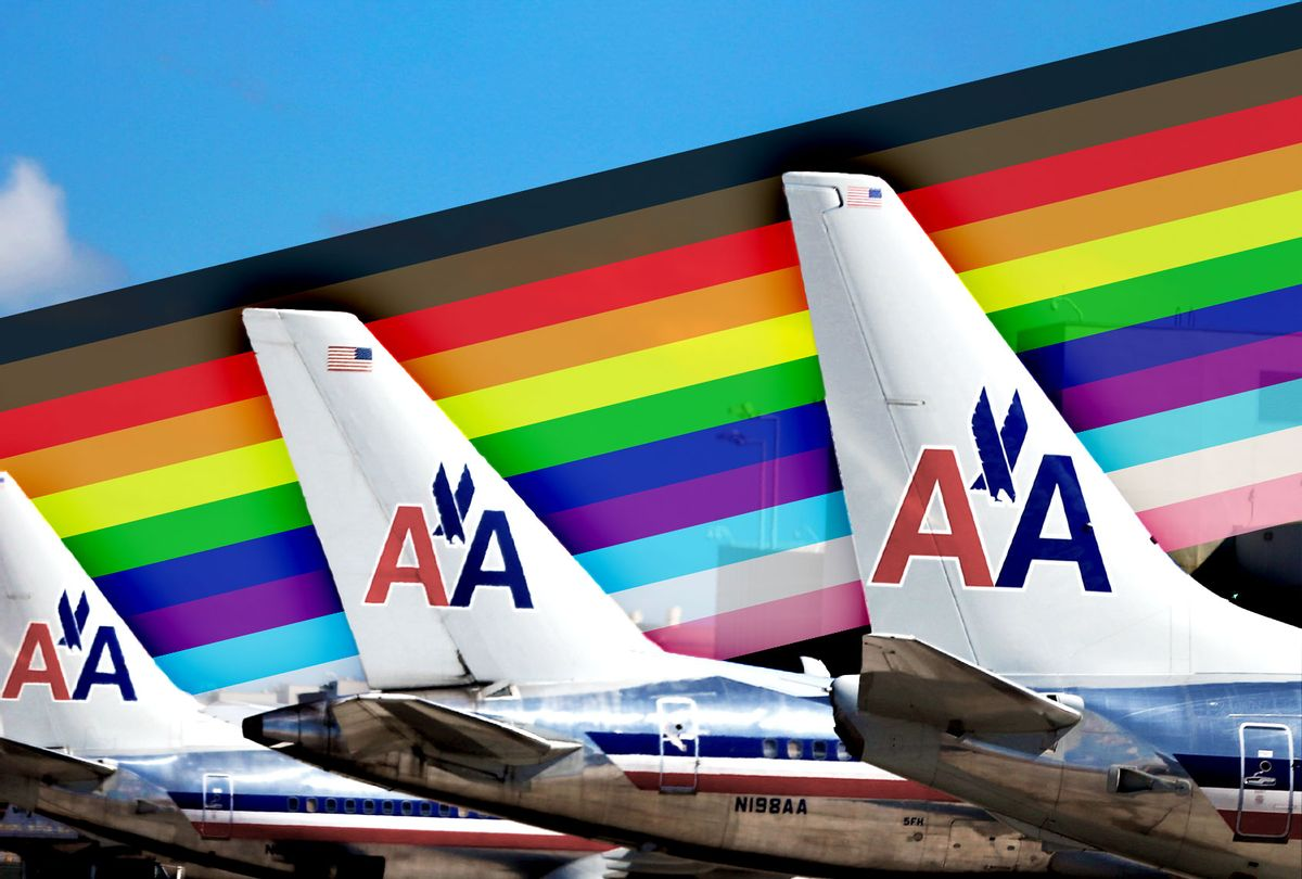 American Airline planes, with the pride flag colors behind the tails (Photo illustration by Salon/Getty Images/Joe Raedle)
