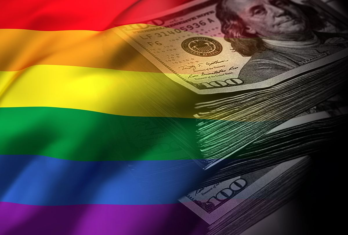 Pride flag being overshadowed by dark money (Photo illustration by Salon/Getty Images)