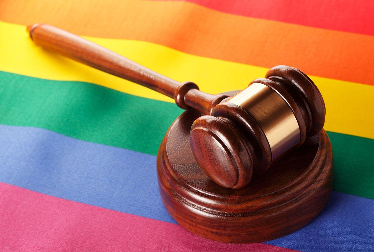 Gavel On Rainbow Flag (Getty Images)