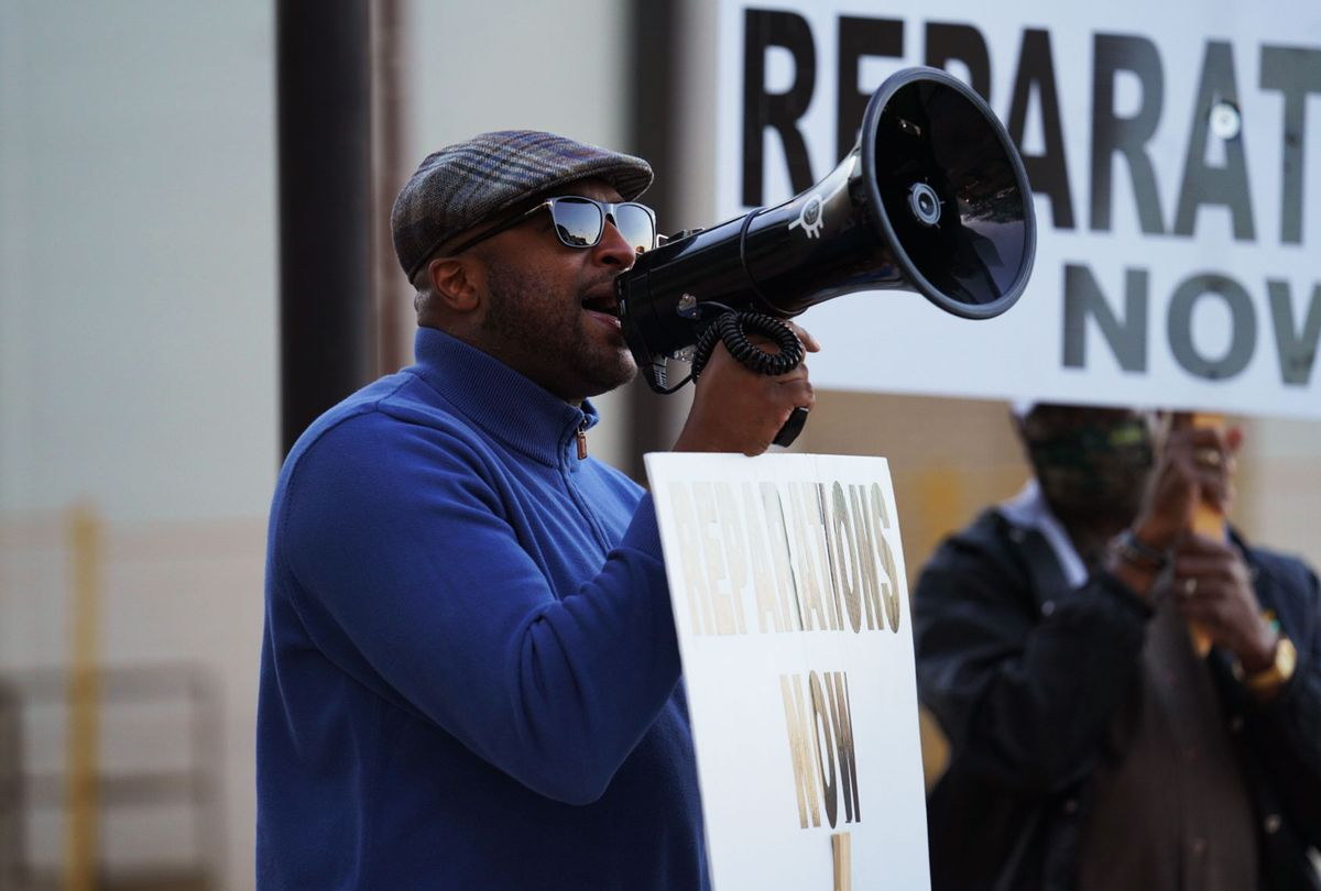 Rev. Robert Turner leads a protest calling for reparations for the victims of the 1921 Tulsa Race Massacre. (National Geographic/Christopher Creese)