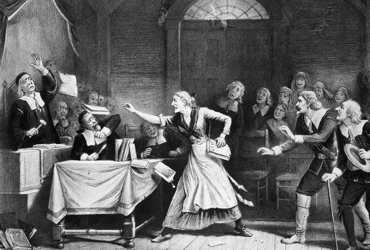 Witch trial in Salem, Massachusetts. Undated. (Getty Images/Lithograph by George H. Walker)