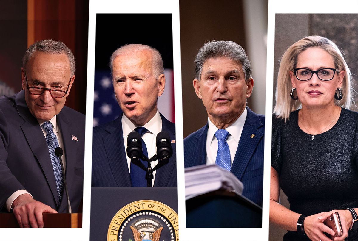 Chuck Schumer, Joe Biden, Joe Manchin and Kyrsten Sinema (Photo illustration by Salon/Getty Images)